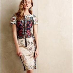 Anthropologie Pieced Brocade Dress